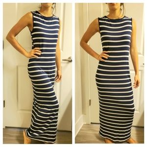 Navy and white stripped maxi dress